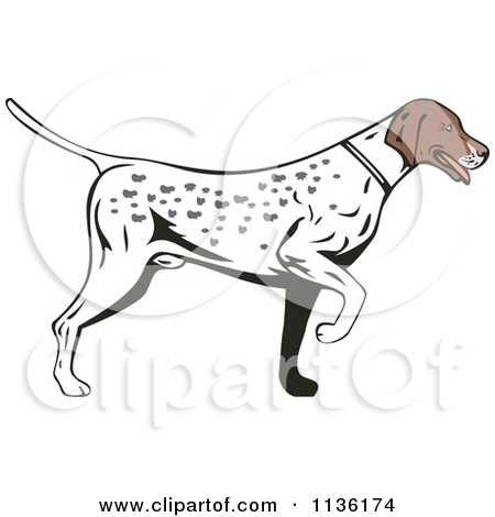 Free pointing dog vector clipart.