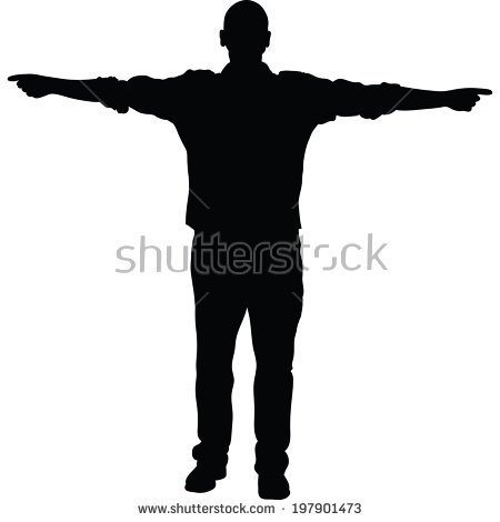 Silhouette of man pointing to sky clipart png.