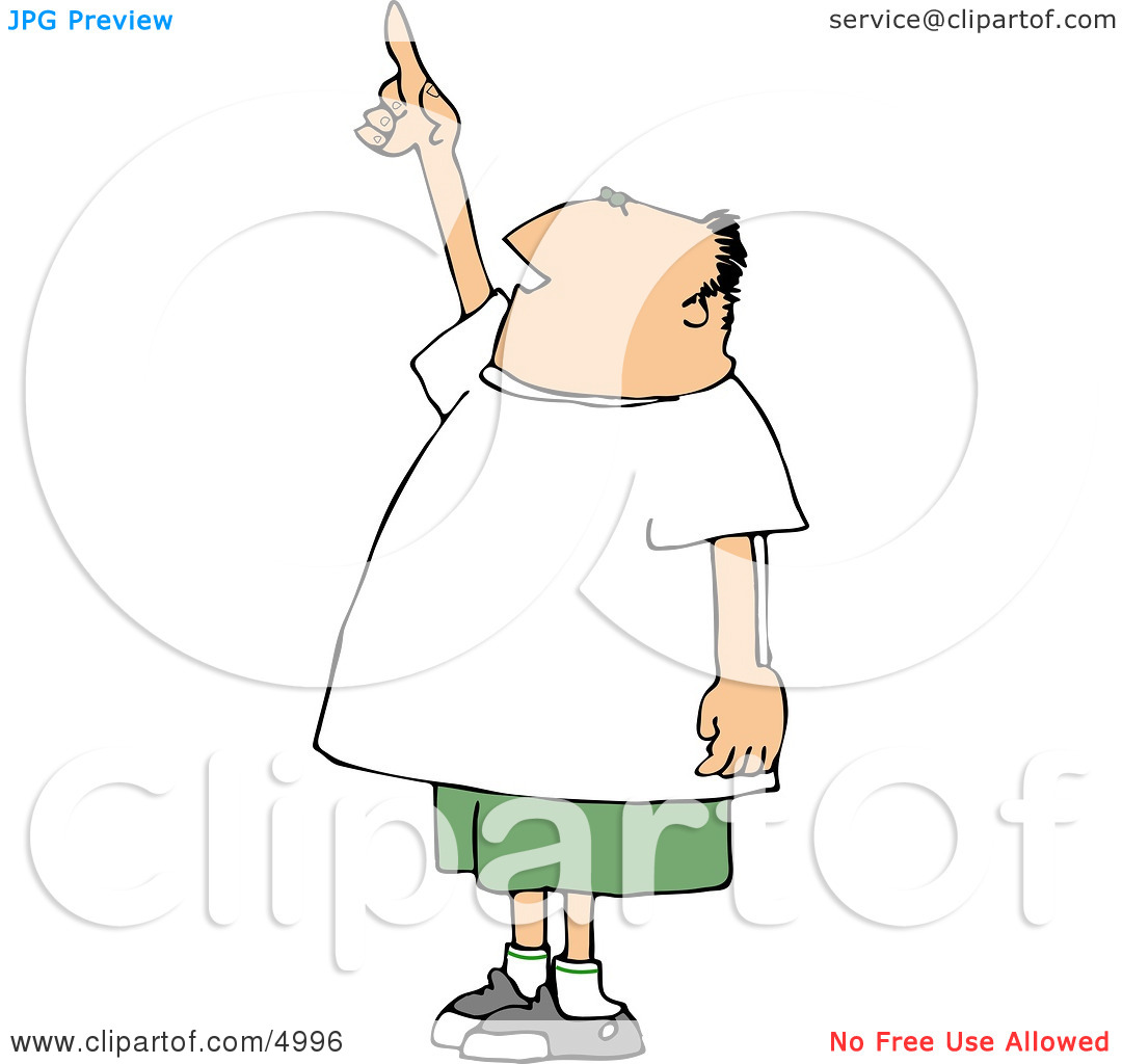 Man Pointing Up at the Sky Clipart by Dennis Cox #4996.