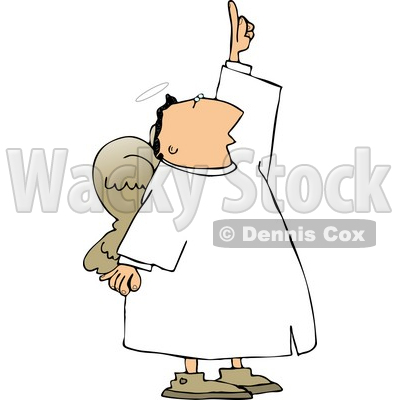 Angel with Wings Pointing Up Towards the Sky Clipart © Dennis Cox.