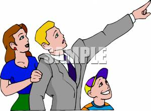 Colorful Cartoon of a Father Pointing To Something In the Sky with.