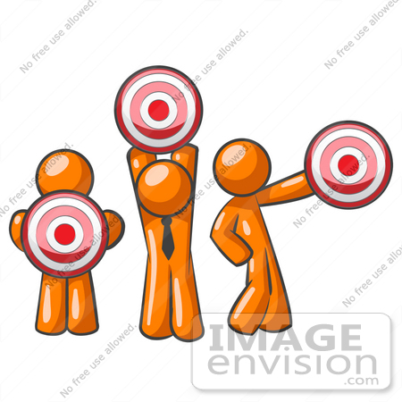 Clip Art Graphic of an Orange Guy Characters Holding Target.