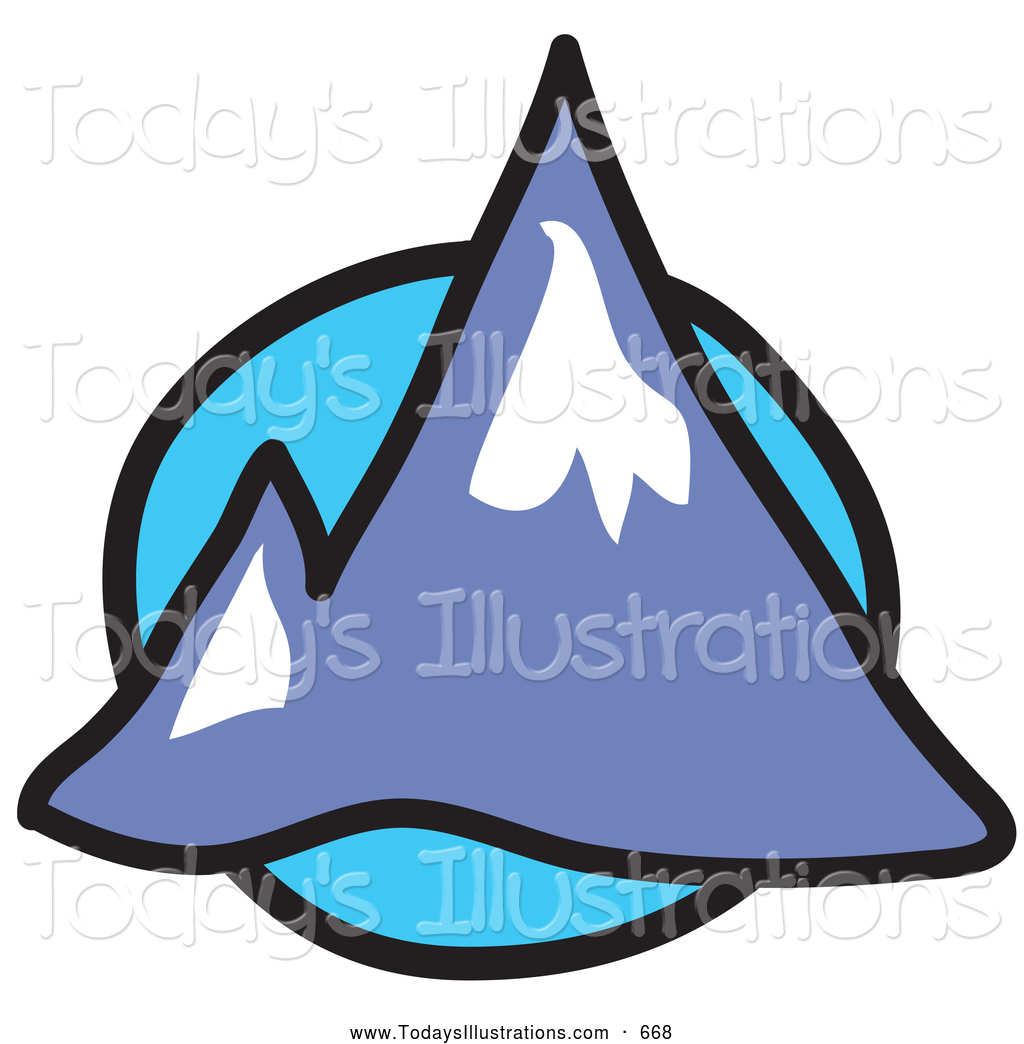 Clipart of Chilly Pointy Mountain Peaks over a Blue Circle.