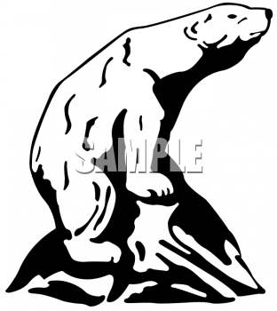 Black and White Clipart Picture of a Bear Poised on a Boulder.