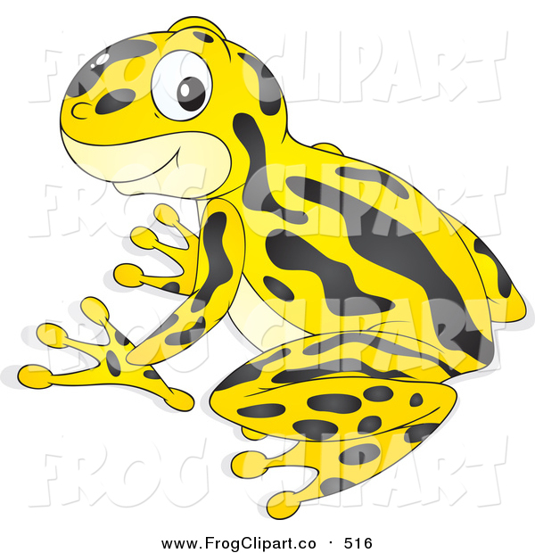 Clip Art of a Cute Yellow and Black Poison Dart Frog by Alex.