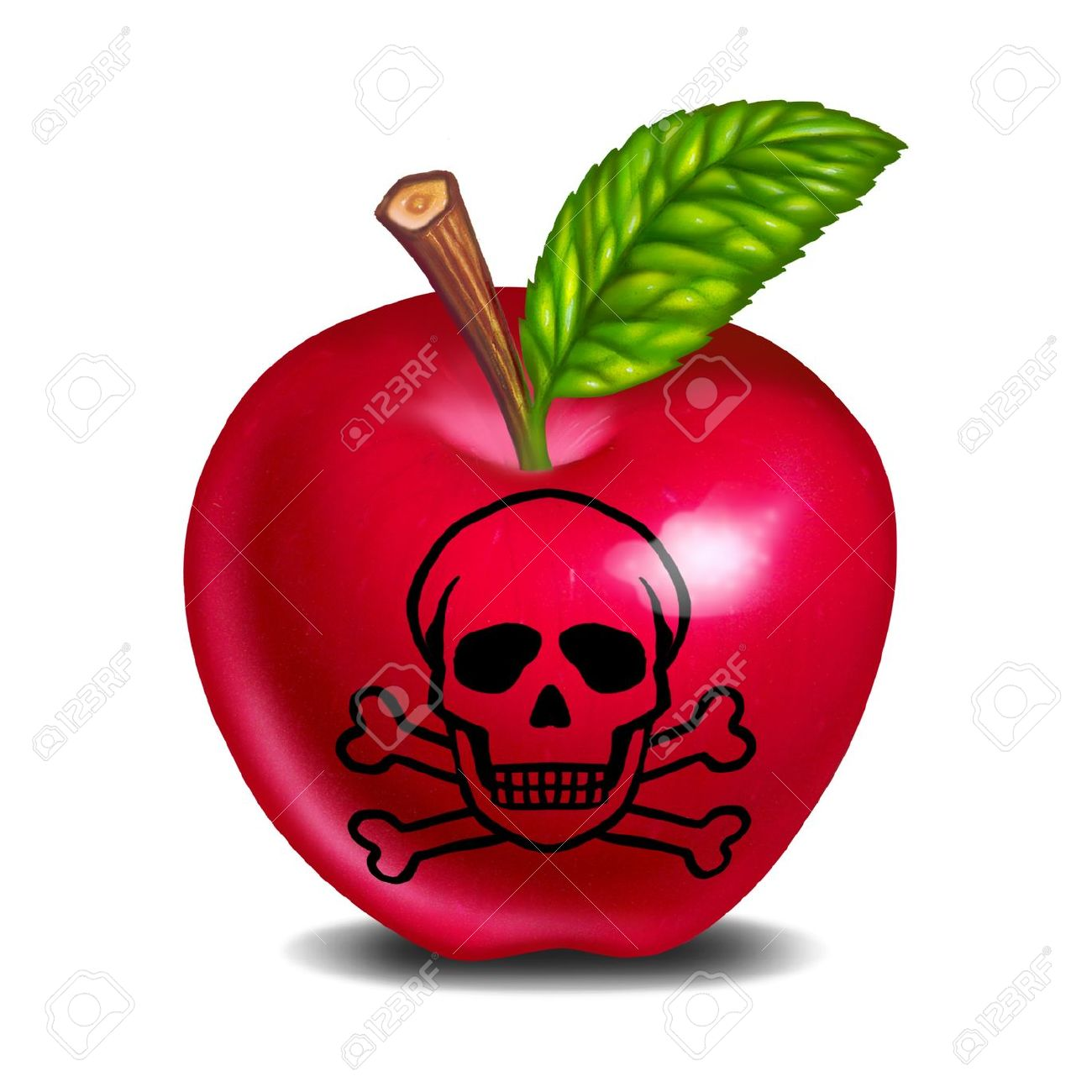 Food Poisoning Symbol Represented With An Apple And Skull And.