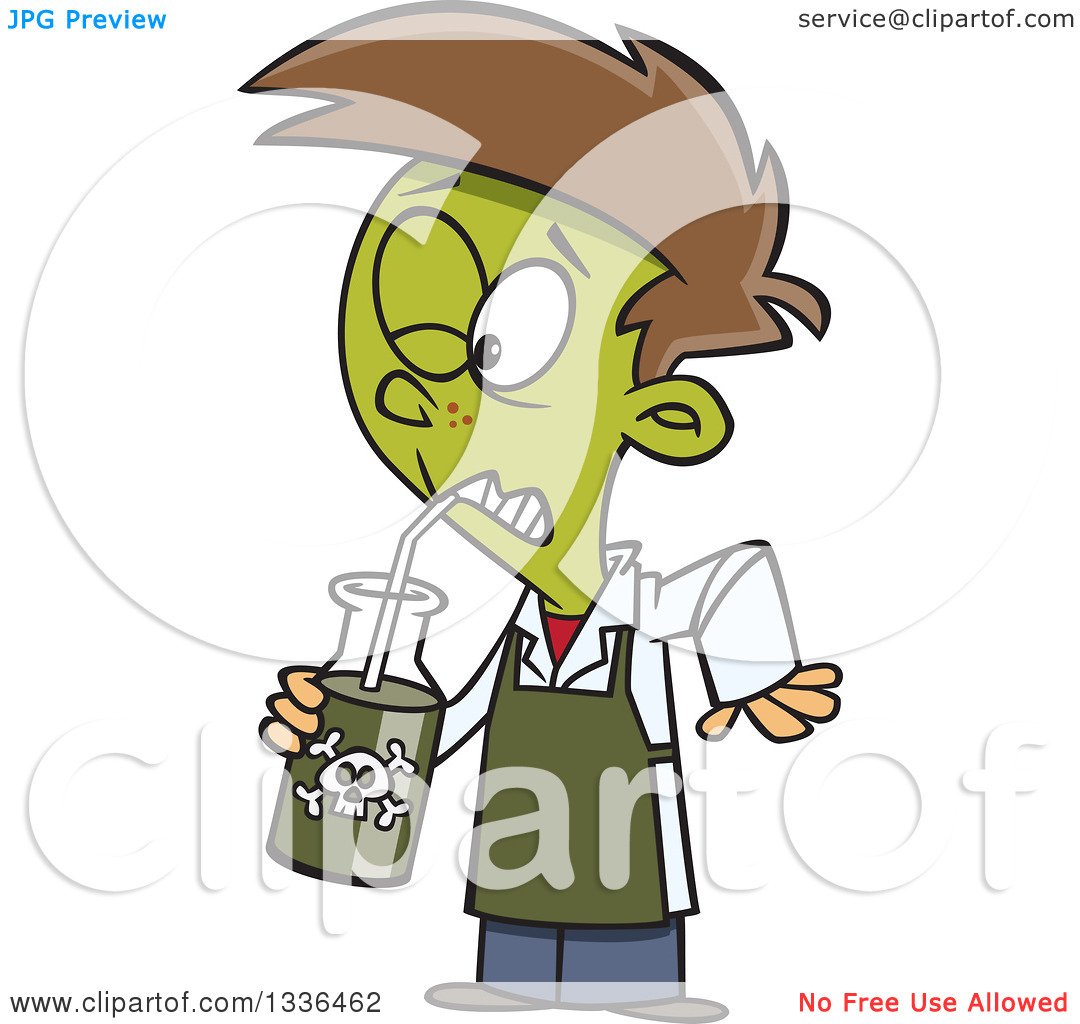 Clipart of a Cartoon Boy Turning Green and Drinking a Poisonous.