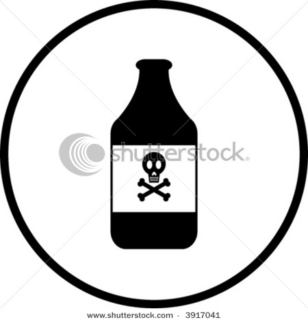 Clip Art Picture of a Poison Bottle with Skull and Cross Bones.