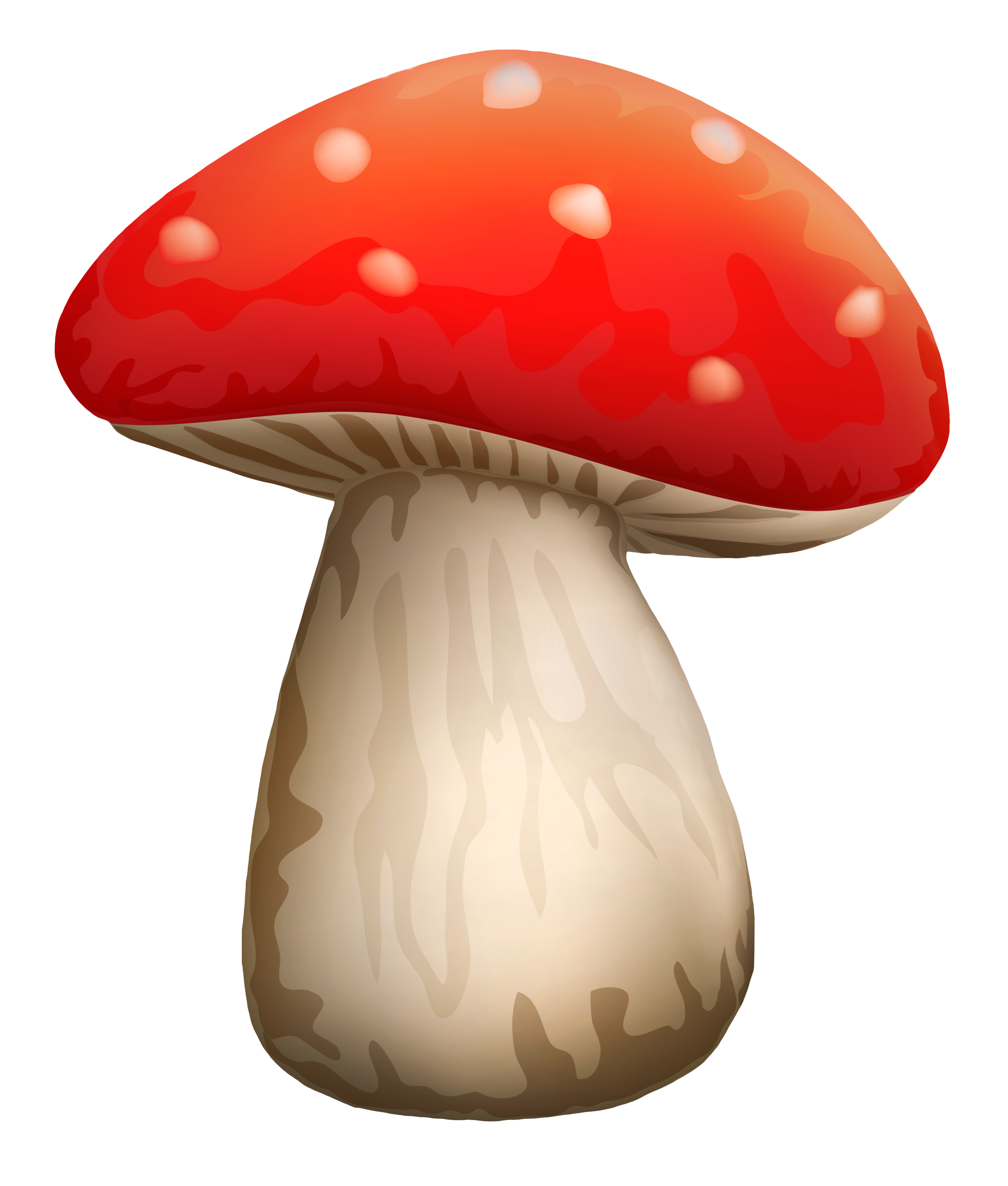 Poisonous Red Mushroom With White Dots PNG Clipart.