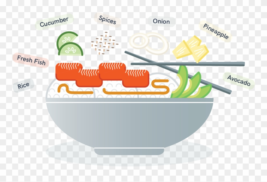 Illustration Of A Poke Bowl With All Of The Ingredients.