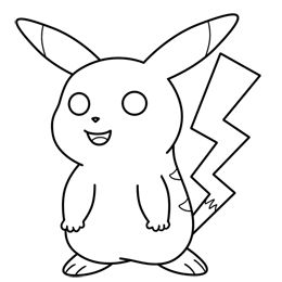 How to draw Pikachu from Pokemon black and white cartoon image.