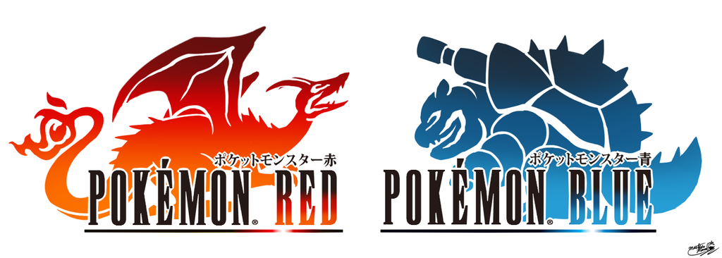 Final Fantasy Logo Art: Pokemon Red and Blue by Master.