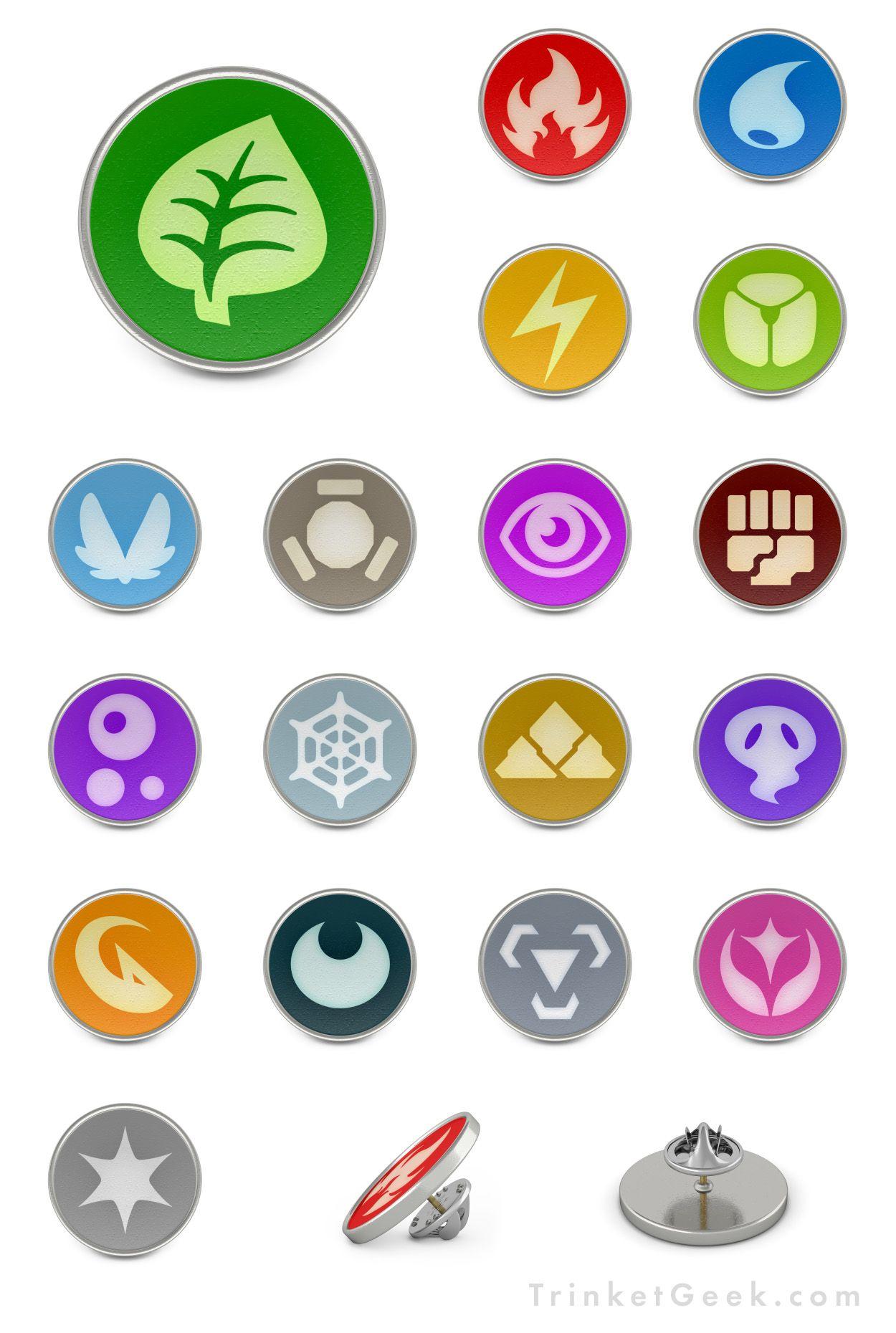 PKMN Type Symbol Pin Badges.