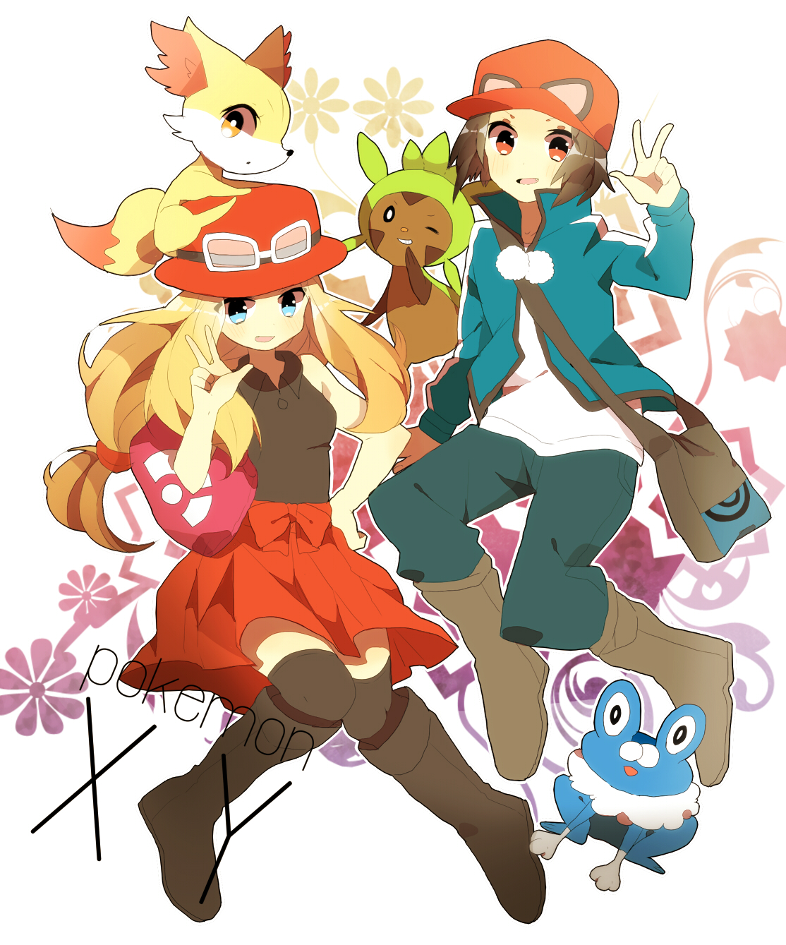 Pokemon x and y Calem and Serena.