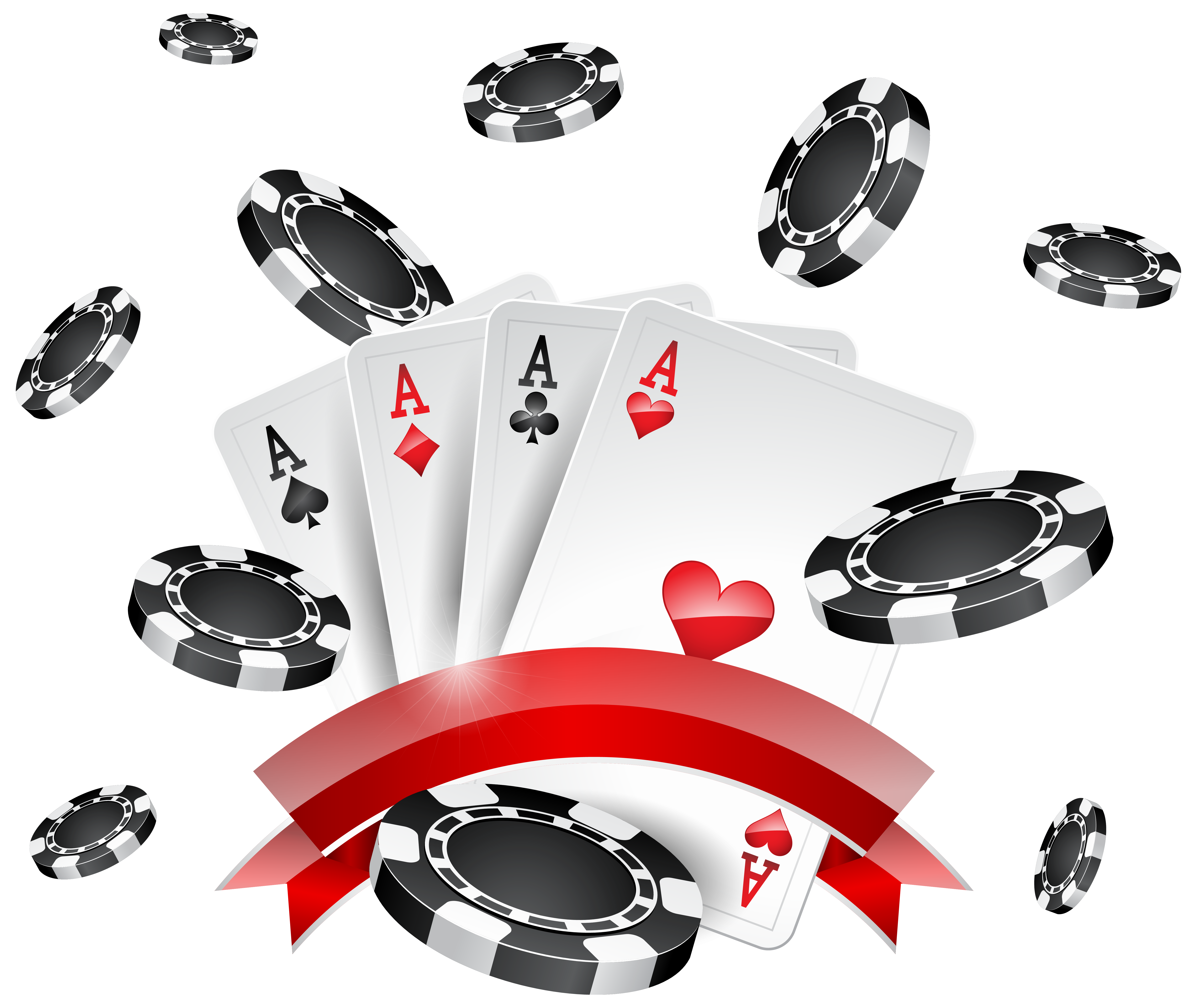 Casino Chips and Cards Decoration PNG Clip Art.