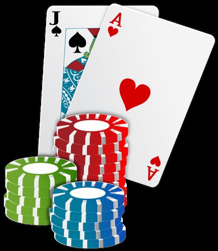 Vector illustration of casino chips poker cards.