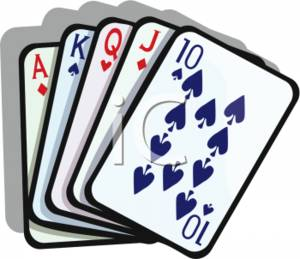 Straight Poker Hand Clipart Picture.