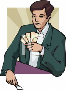 Poker Player Playing Poker Clipart Picture.
