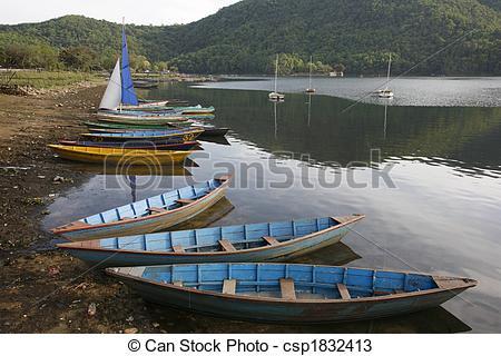 Stock Photos of Pokhara boats.