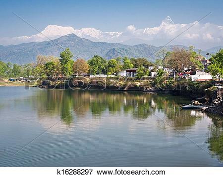 Picture of Phewa Lake in Pokhara, Nepal k16288297.