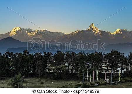 Picture of mountains of Himalaya seen from Pokhara in early.