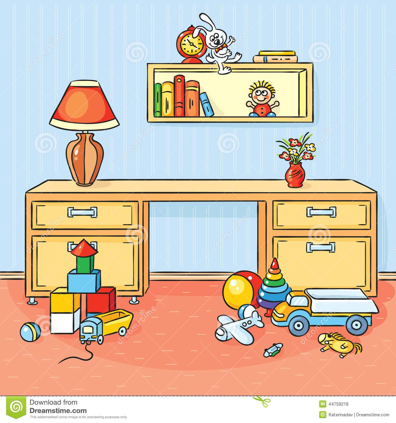 Dziecko Pokój Z Mnóstwo Zabawkami Rozpraszał Na Podłoga Ilustracja.
