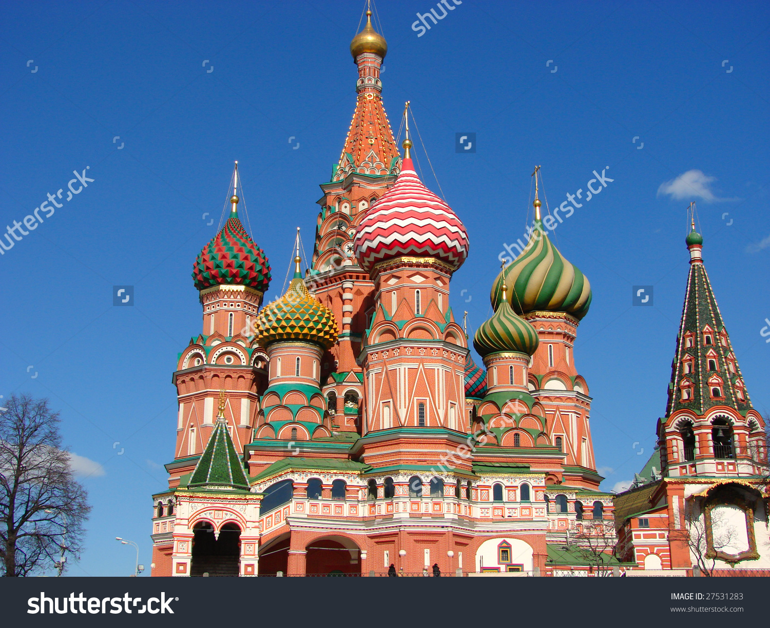 Traditional Russian Architecture Pokrovsky Cathedral On Stock.
