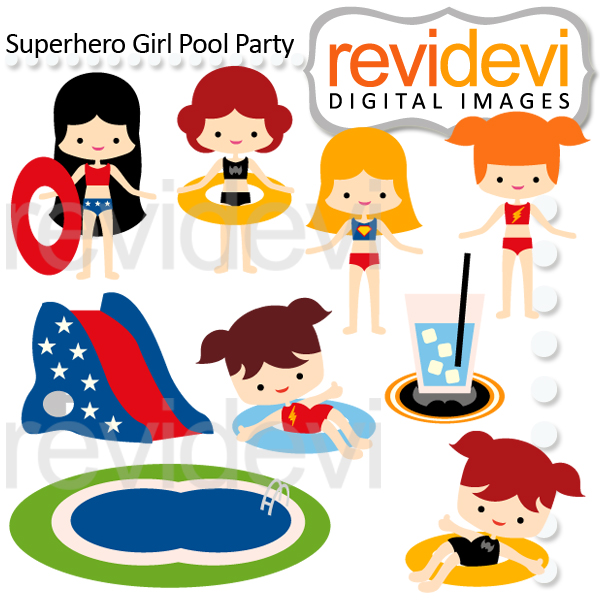 Superhero Girl Pool Party Clipart.