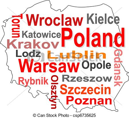 Clipart Vector of poland map and words cloud with larger cities.