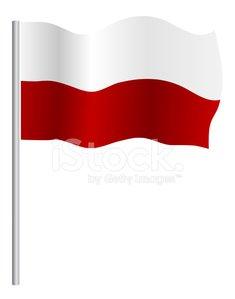 Polish (Poland) flag Clipart Image.