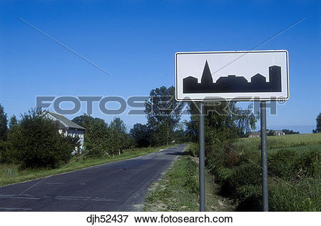 Picture of Road Sign, Country Village, Krakow District Poland.