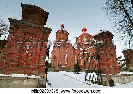 "Pictures of ""Russian Orthodox church in snow, Bialowieza Village."
