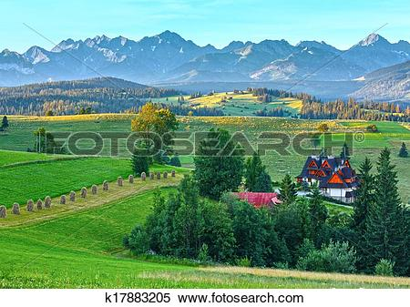 Stock Image of Summer morning mountain village view (Poland.