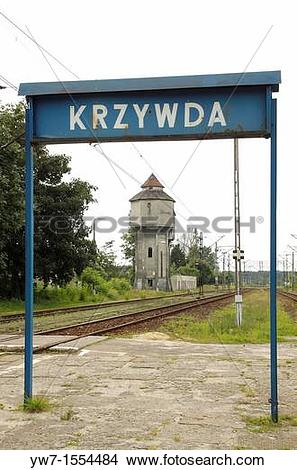 Stock Photo of Deteriorating water tower in Krzywda village Lukow.