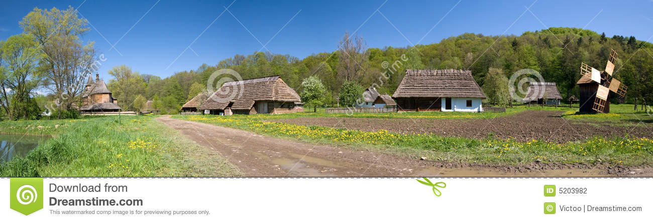 Panorama Of Old Polish Village Stock Photography.