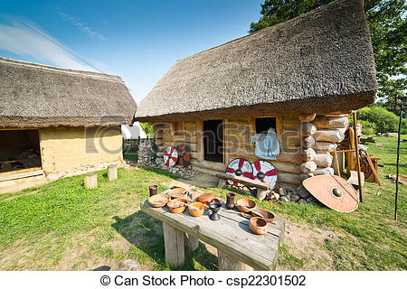 Stock Photography of Old slavic village in Poland csp22301502.