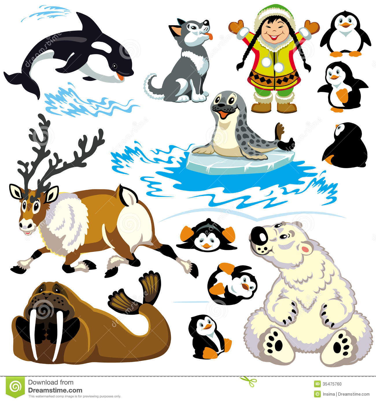 Polar Animals Clipart.