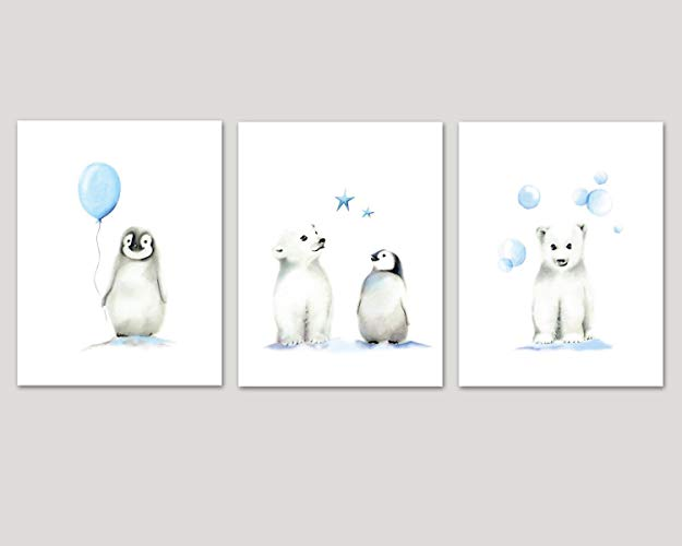 Penguin and Polar Bear Nursery Art, Set of 3 Arctic Animals, Balloon and  Stars, Various Sizes Available, UNFRAMED PRINTS.