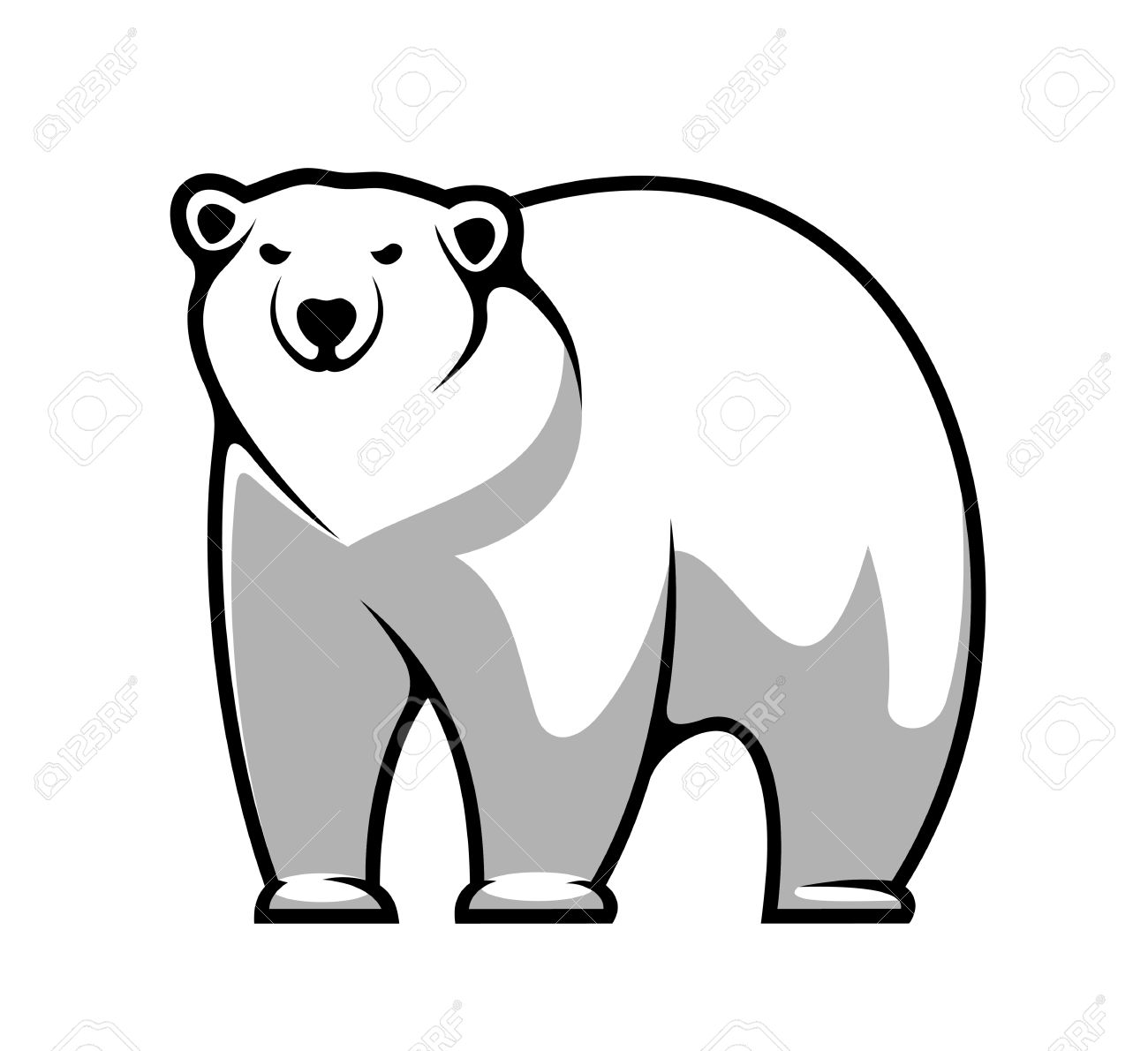 Large Grey And White Cartoon Polar Bear Isolated On White For.