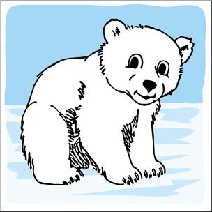 Clip Art: Cartoon Polar Bear Cub Color I abcteach.com.