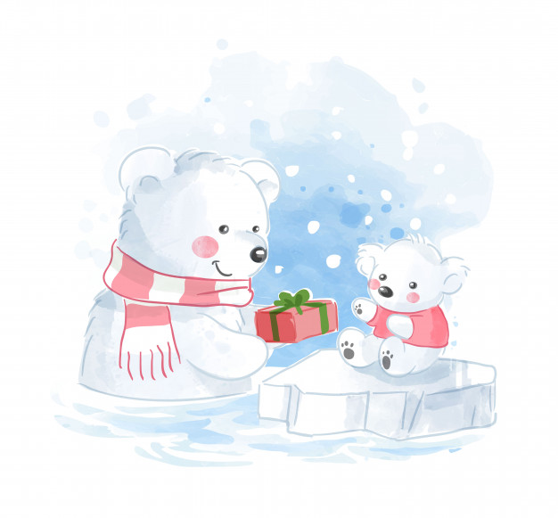 Polar bear family with present illustration Vector.