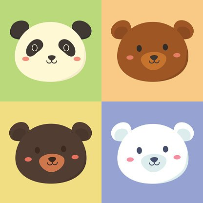 Set of Cute Panda Grizly Black Polar Bear Head Clipart Image.