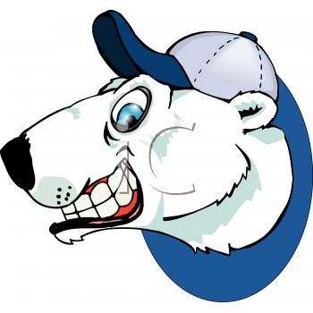 Royalty Free Clip Art Image: Polar Bear Wearing a Baseball Cap.