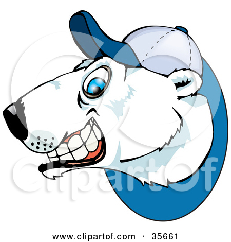 Clipart Black And White Polar Bear Grinning And Wearing A Baseball.