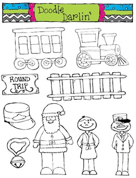 Polar Express BLACK AND WHITE Clipart Set.