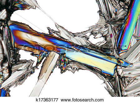 Picture of Microscopic view of colorful potassium nitrate crystal.