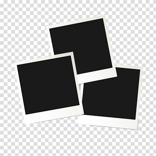 Black and white card illustration, Instant camera Polaroid.