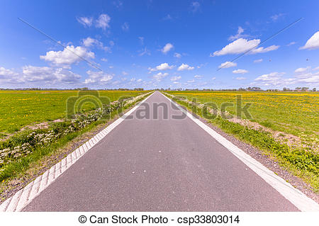 Stock Photography of Polder country road Holland.