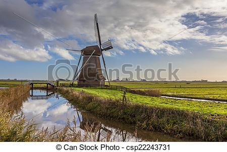 Stock Photos of Dutch windmill in polder.