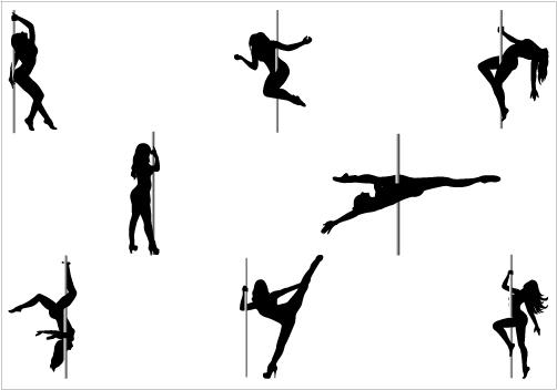 Pole Dancer Silhouette Clipart.
